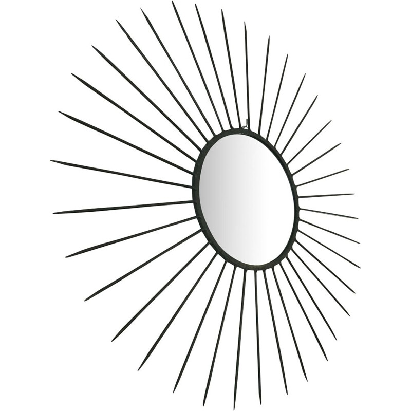 Vintage Sun black iron mirror