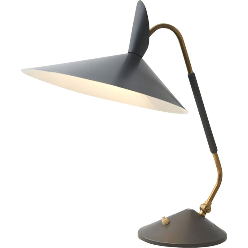 Vintage desk lamp in brass with grey shade 1950s
