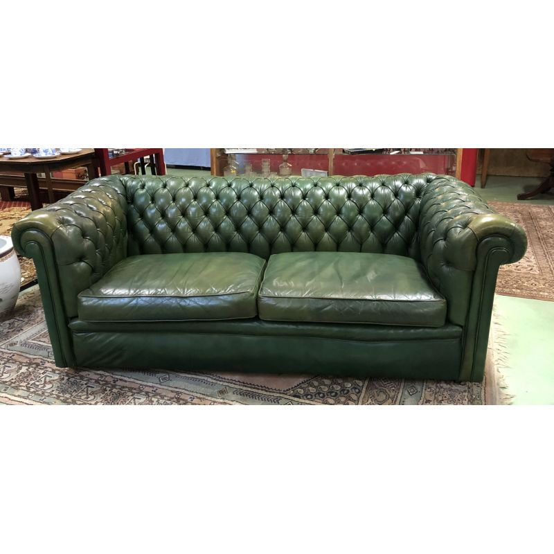 2 Seater Sofa Vintage Chesterfield Green Leather 1970s Design Market