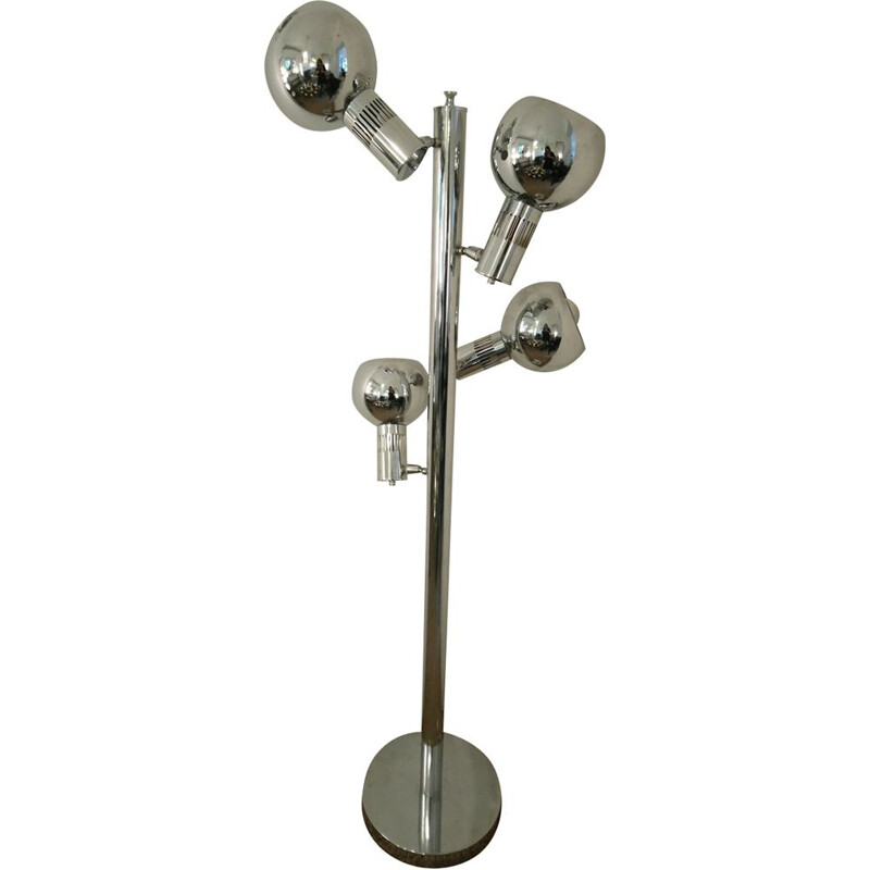 Vintage floor lamp in chrome 4 spots