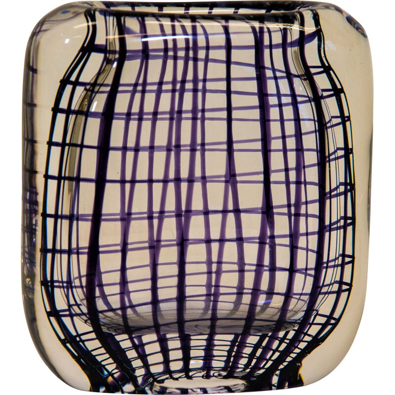 Vase of glass with purple lines, Hermann Bongard 1950s