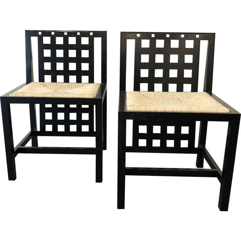 Pair of chairs in black ash by Charles Rennie