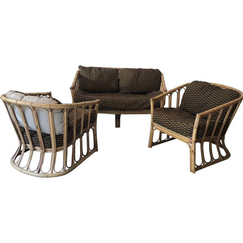 Vintage living room set in wicker and rattan