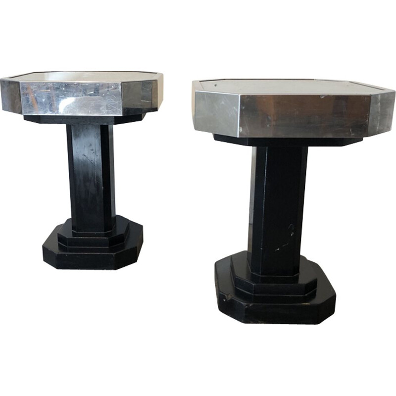 Pair of vintage pedestal tables in glass metal black wood 1930s