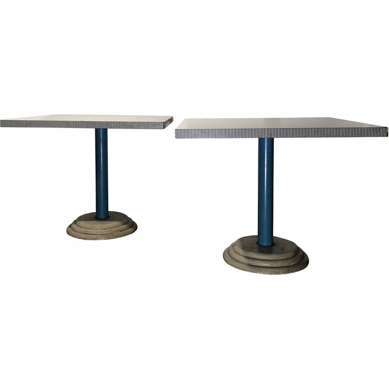 Pair of vintage tables Kroma by Antonia Astori for Driade, Italy 1984