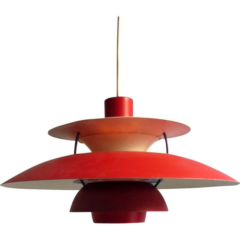Vintage hanging lamp Red PH5 Scandinavian 1950s