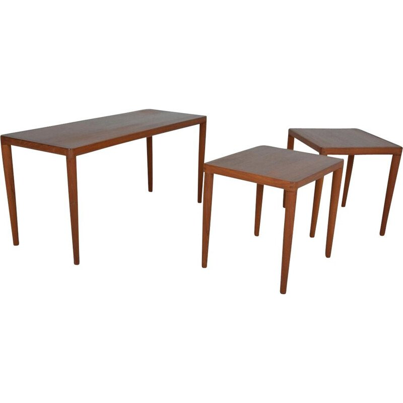 Vintage nesting tables in teak Scandinavian 1960s