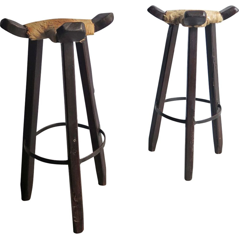 Set of 2 vintage stools in cow leather