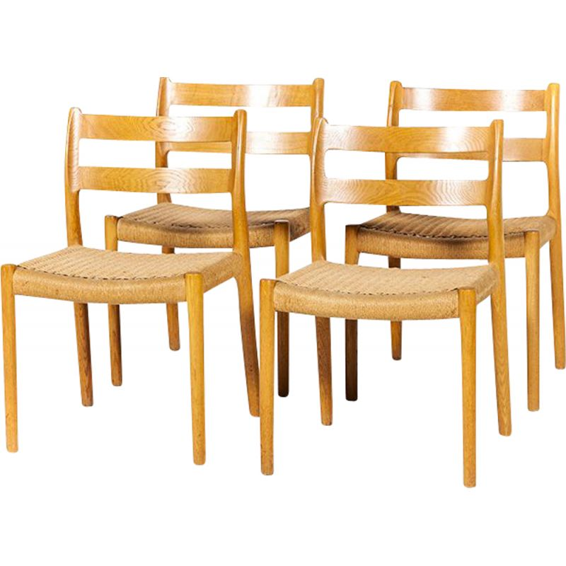 Set of 4 vintage dining chairs No. 84 by Niels Otto Møller for J.L. Møllers 1960s