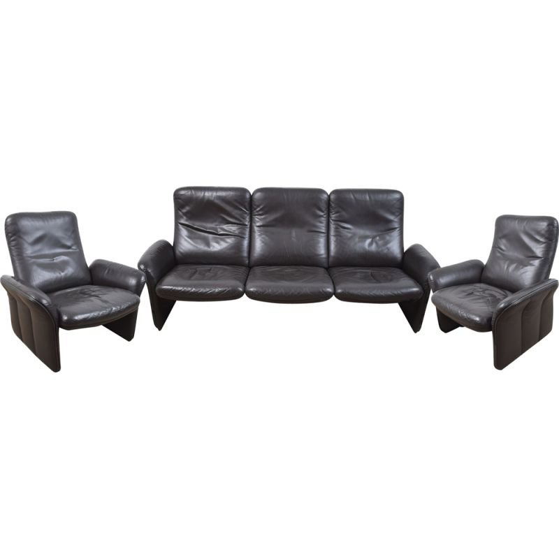 Vintage DS-50 lounge set by de Sede in wood and black leather 1960