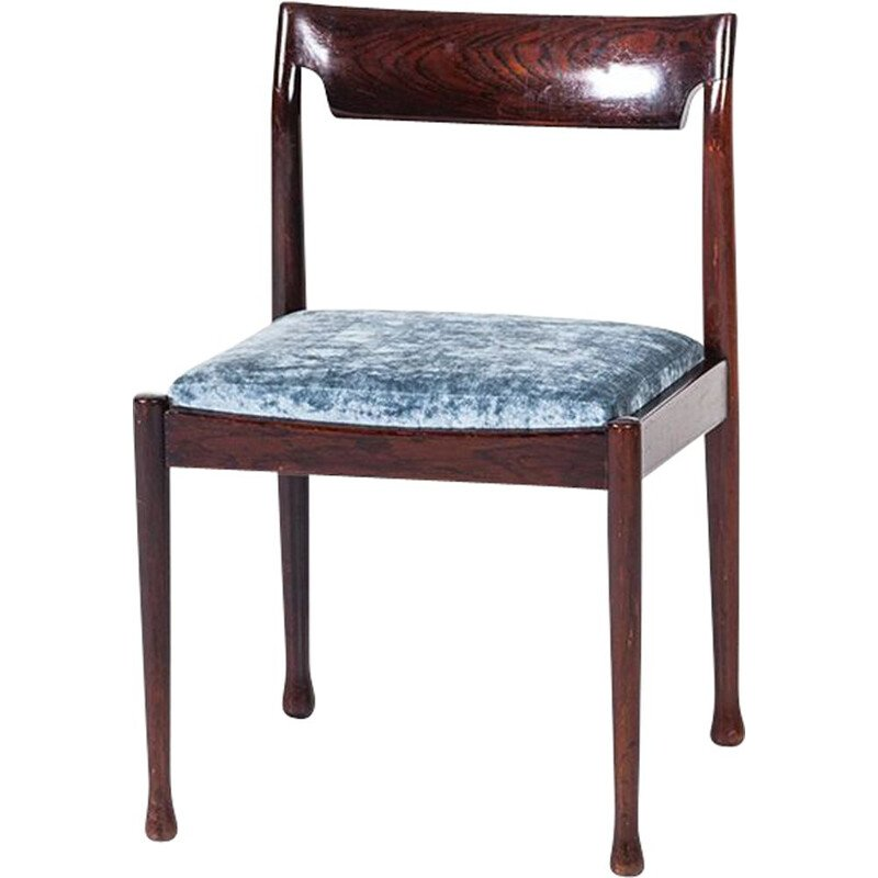 Set of 4 vintage danish chairs in rosewood and blue fabric 1960