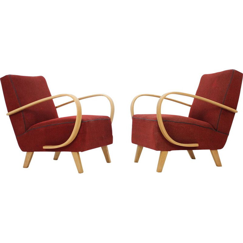 Set of 2 vintage armchairs by Jindřich Halabala in oak and red fabric 1950