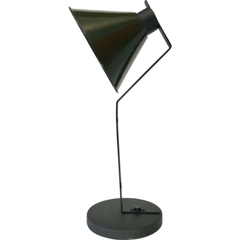 French vintage lamp in green steel and enamel