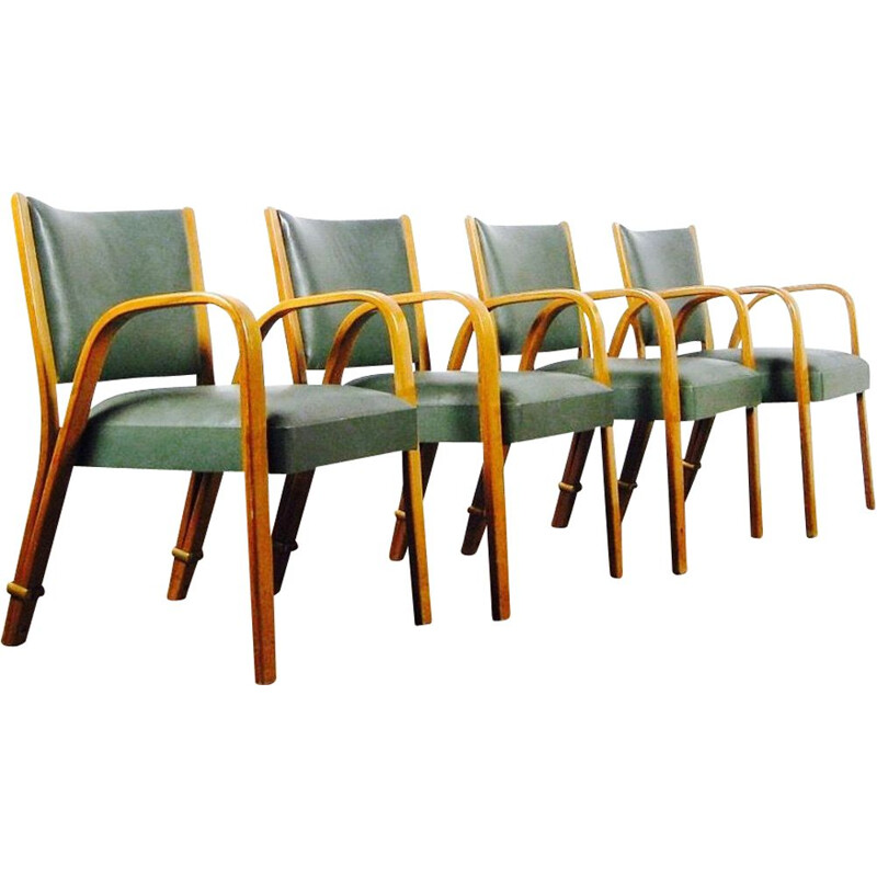 Set of 4 vintage chairs Bow Wood of Steiner in beechwood and green leatherette of 1950