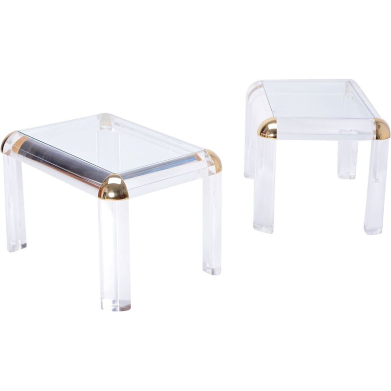 Pair of vintage lucite and brass coffee tables 1970