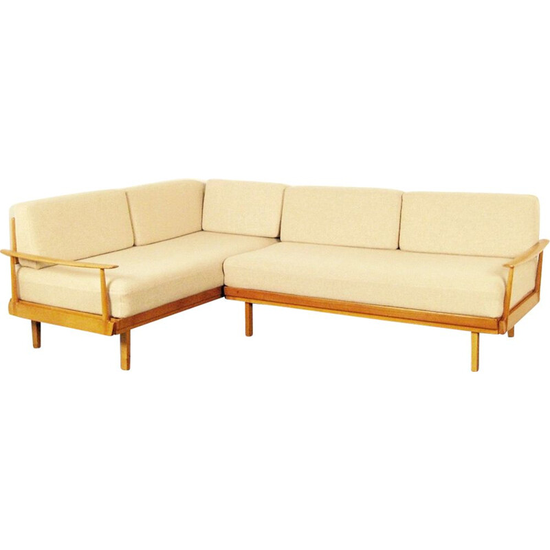 Vintage 5-seat scandinavian sofa in beige wool and beechwood 1950