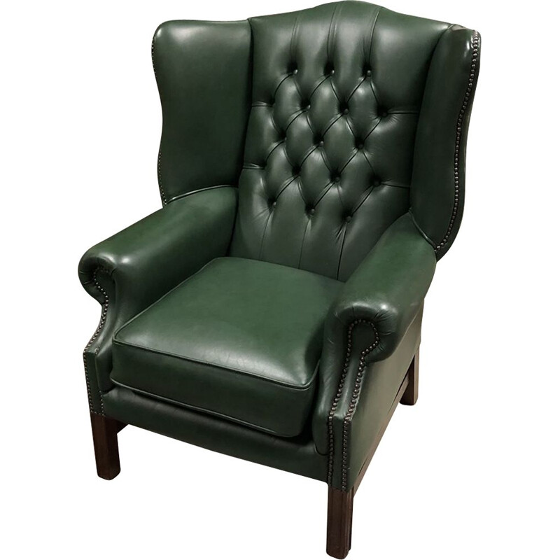 Vintage Chesterfield armchair in green leather 1970