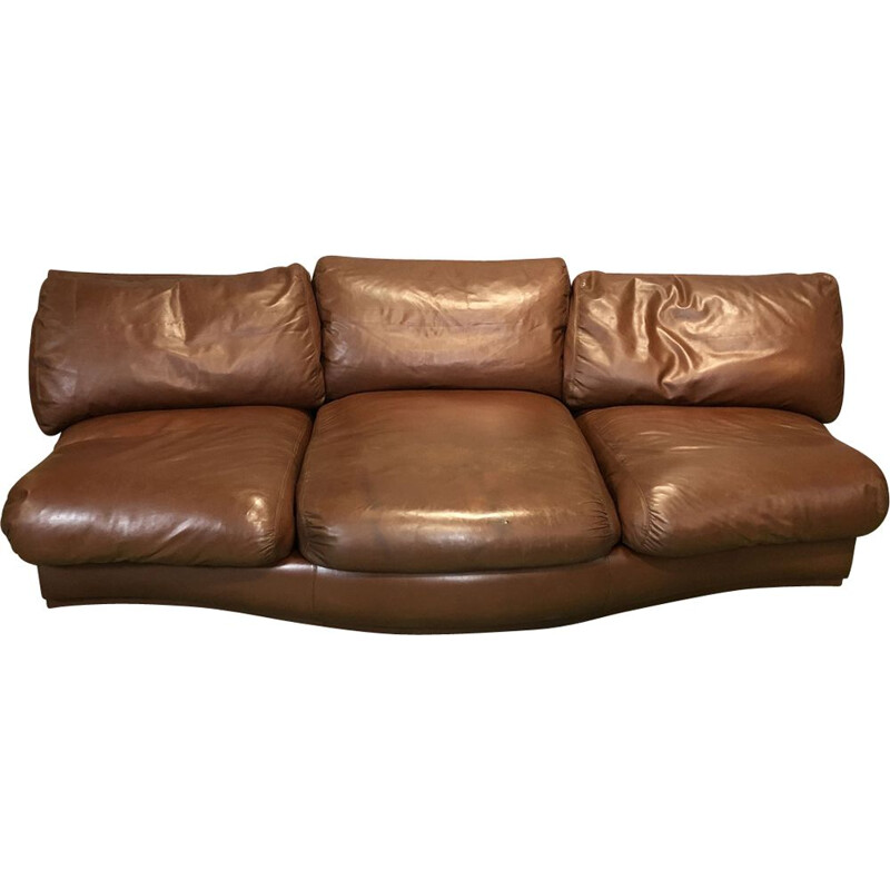 Vintage sofa in brown leather and wood 1970