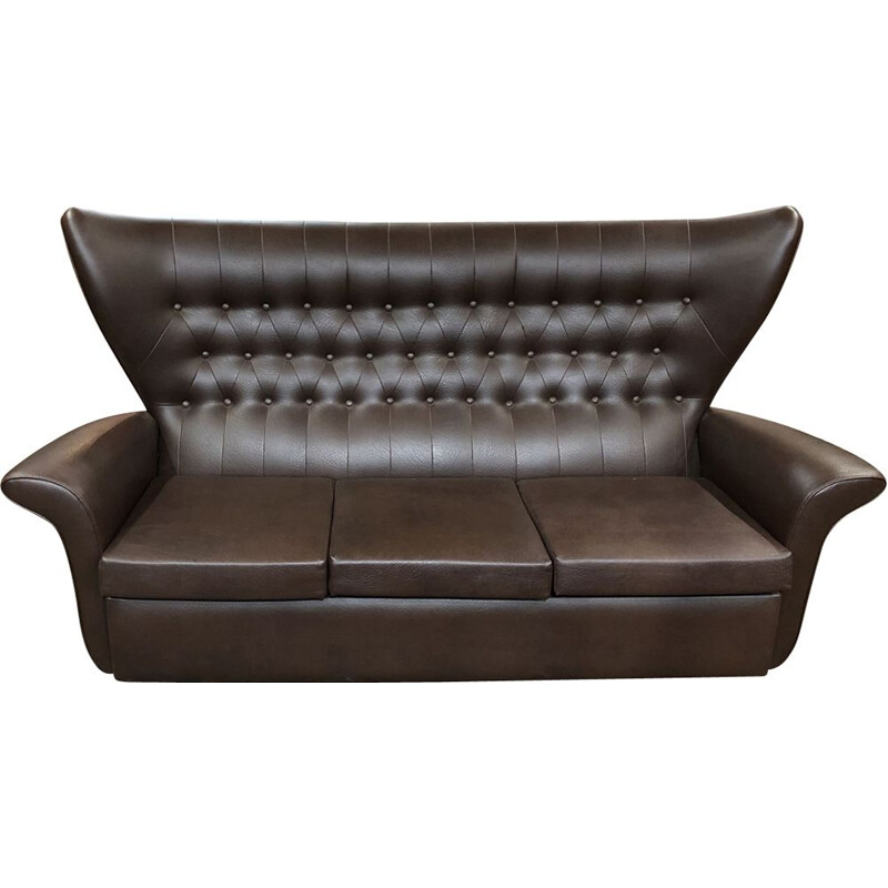 Vintage sofa in brown leatherette 1970