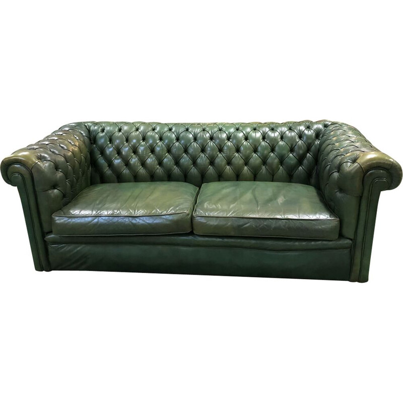 3 seater Sofa vintage chesterfield green leather 1970s