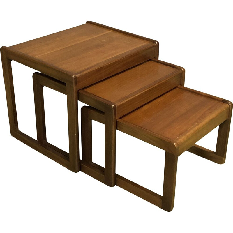 Vintage nesting tables in teak 70s
