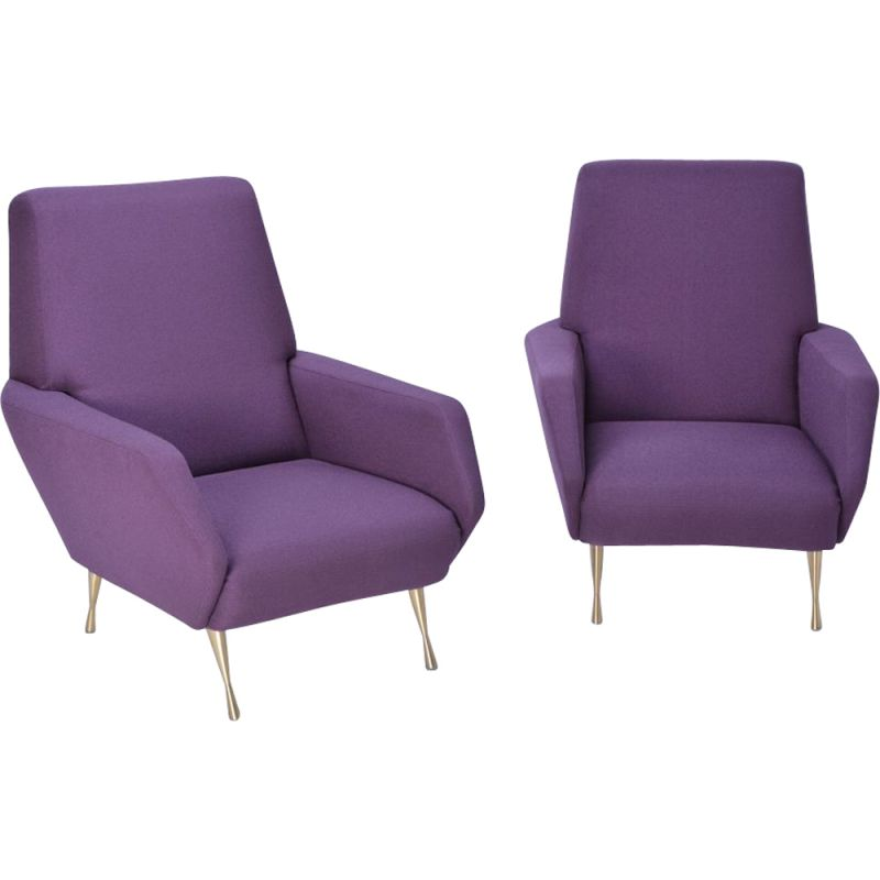 Pair of vintage italian armchairs in purple fabric and brass 1950