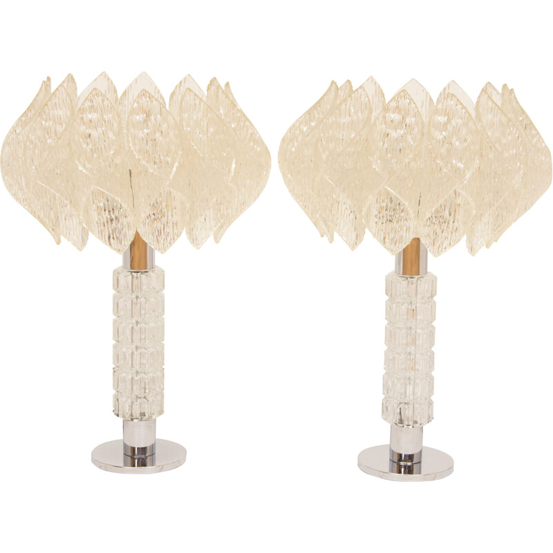 Pair of vintage german lamps in glass 1960