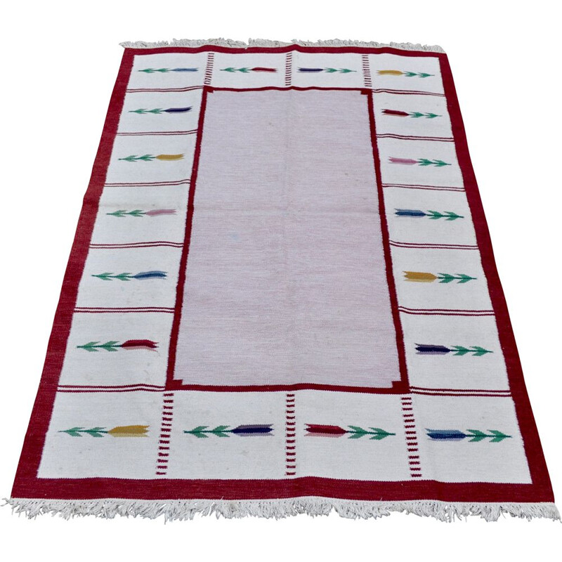 Large scandinavian vintage Rollakan rug in wool 1960