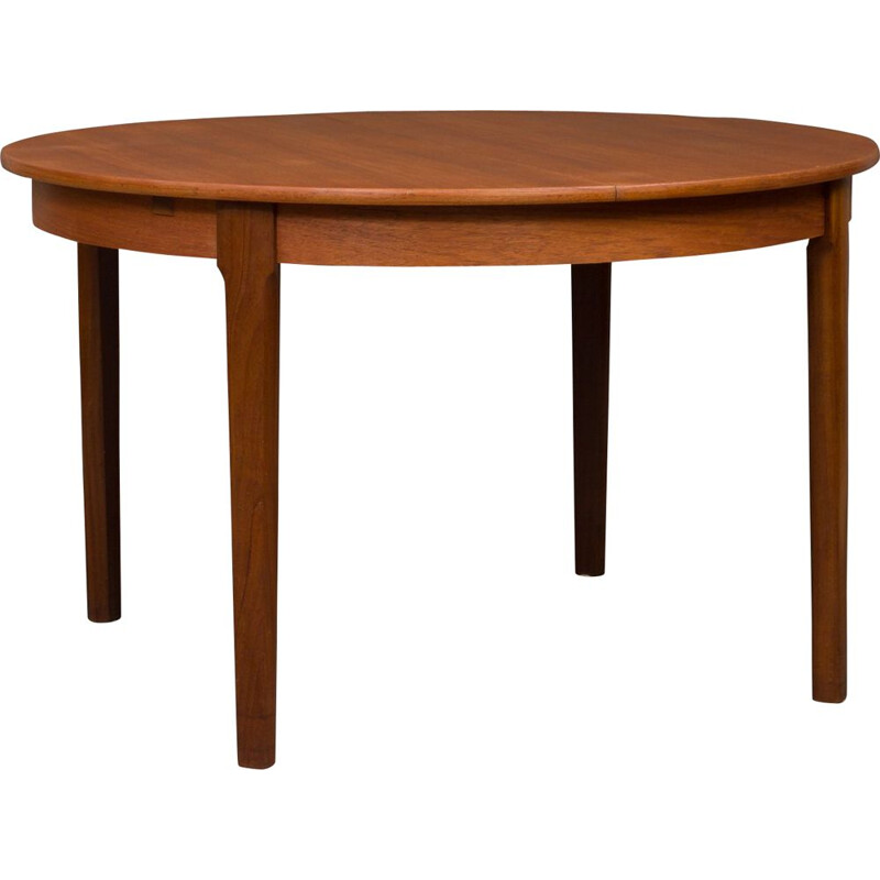 Vintage danish teak table with two hidden leaves 1960