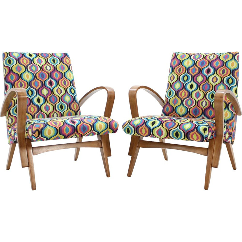 Set of 2 vintage Tatra armchairs by Jirak Frantisek in wood and fabric