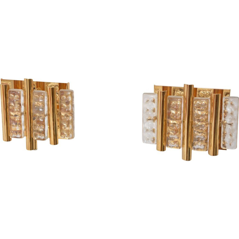 Pair of vintage brass and glass wall lamps for Lyfa 1960