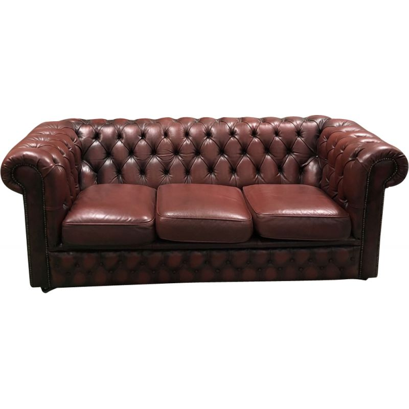 Vintage Red Leather Sofa 1970