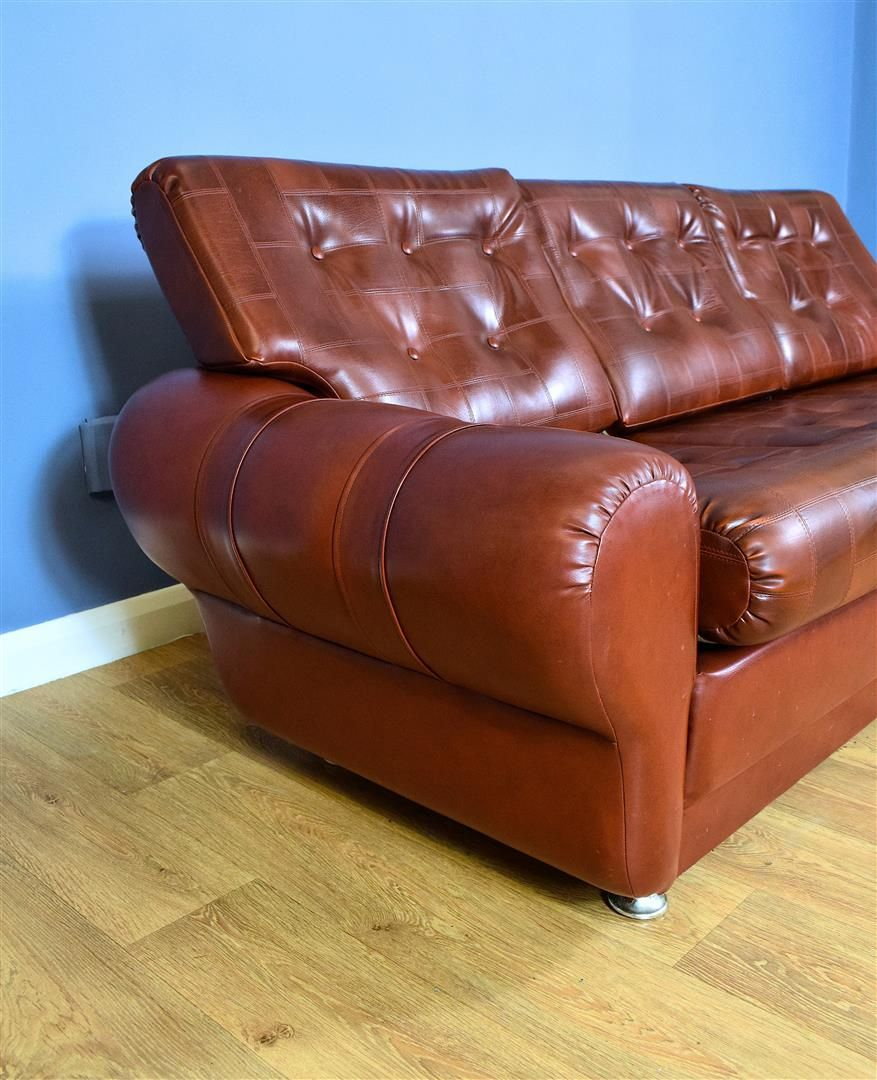 Vintage 3-seater sofa in cognac brown faux leather Danish ...