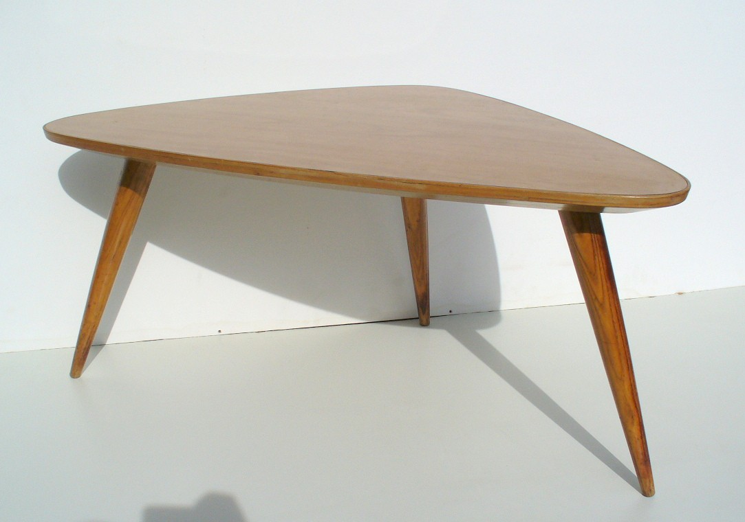 Triangular Coffee Table In Wood And Melamine  1950s Previous Next