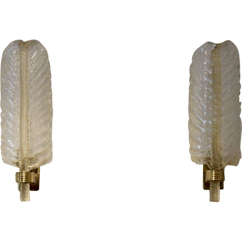 Pair of vintage leaf sconces for Barovier & Toso in Murano glass and brass