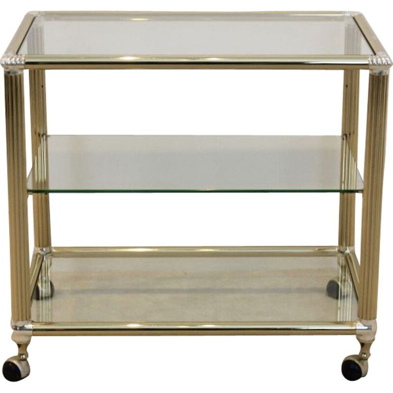 Vintage belgian brass and glass bar cart 1970s