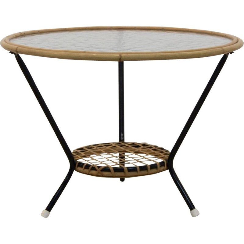 Vintage side table for Rohé Noordwolde in glass and wicker