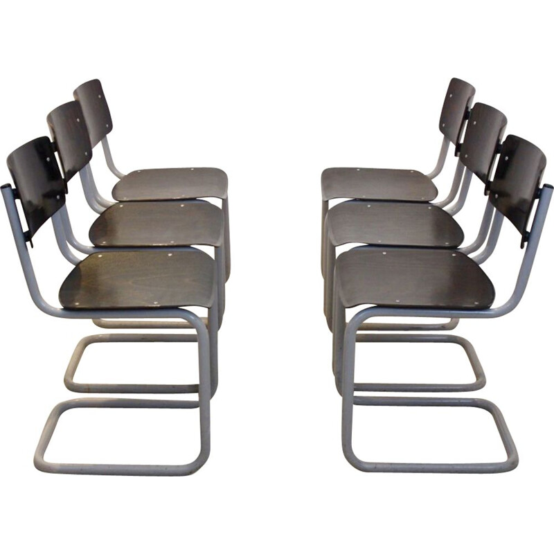 Set of 6 vintage industrial chairs for Gispen in plywood and wenge 1960
