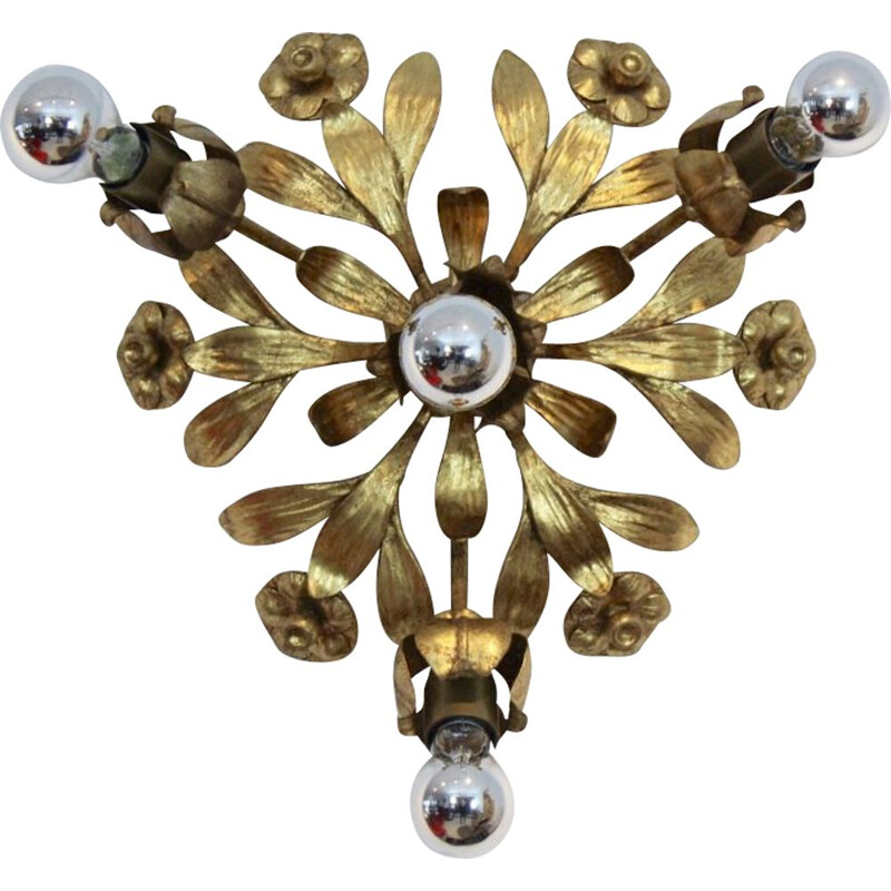 Vintage german floral wall lamp by Hans Kögl in steel and brass 1970