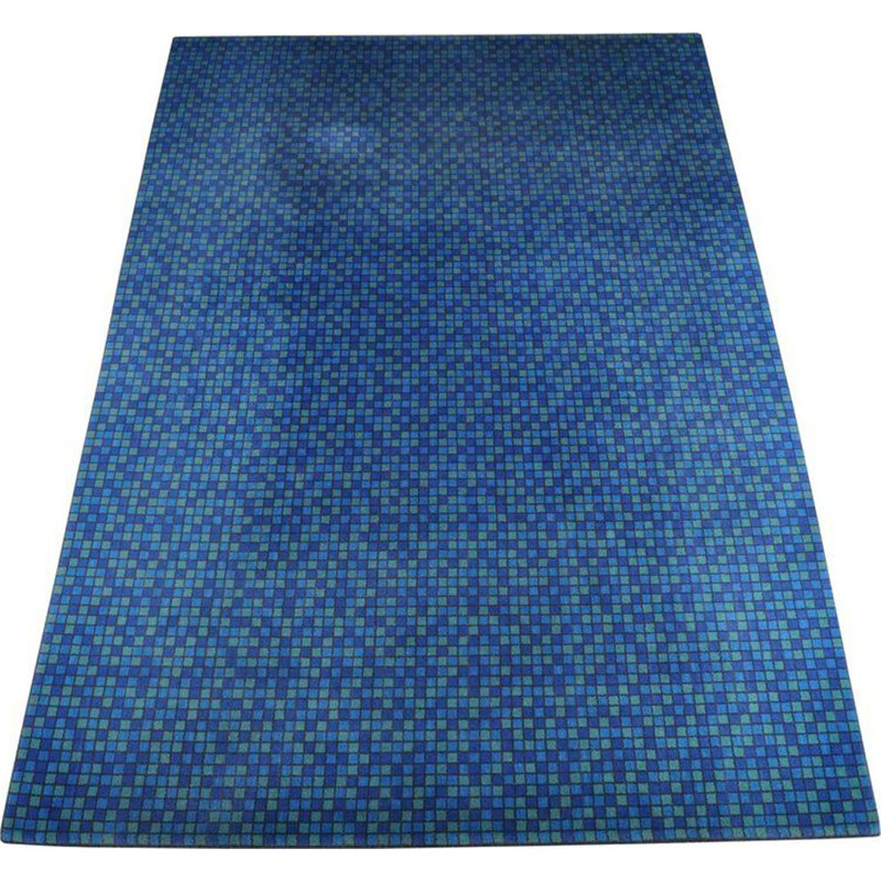 Vintage danish rug for Unikaeteppe in blue fabric 1960