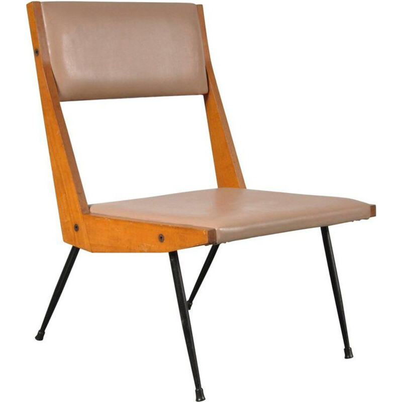 Vintage italian chair in beige leatherette and beechwood 1950