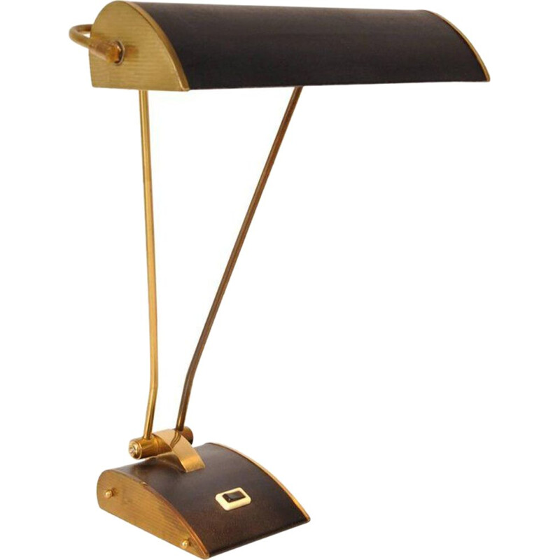 Vintage french lamp for Jumo in black metal and brass 1940