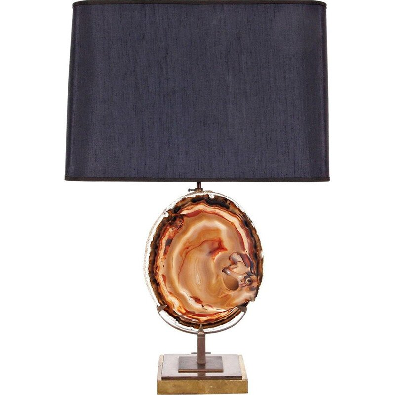 Agate table lamp in brass and stone