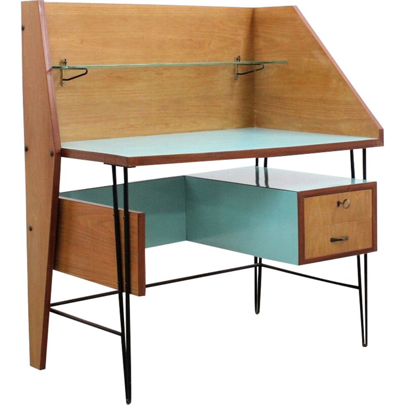Vintage italian writing desk in wood and formica 1950