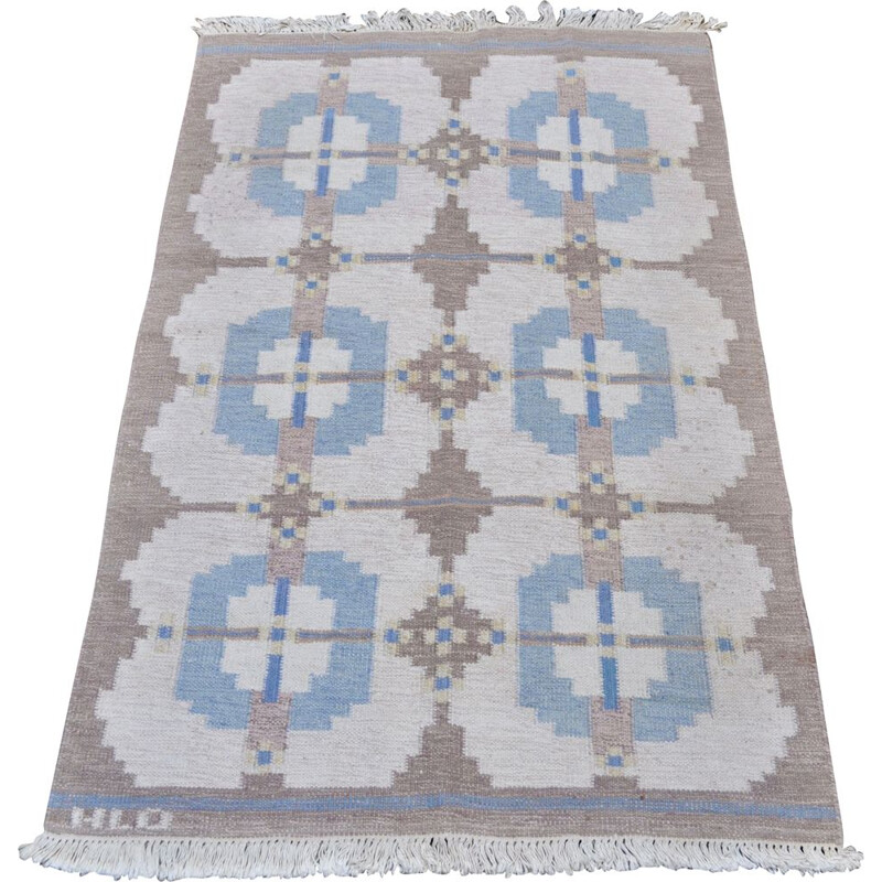 Vintage scandinavian Rollakan carpet by HLO in blue wool 1960