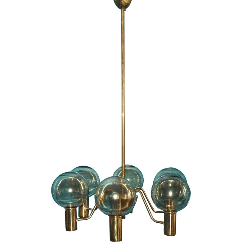 Vintage scandinavian hanging lamp for Markaryd in brass and glass 1960
