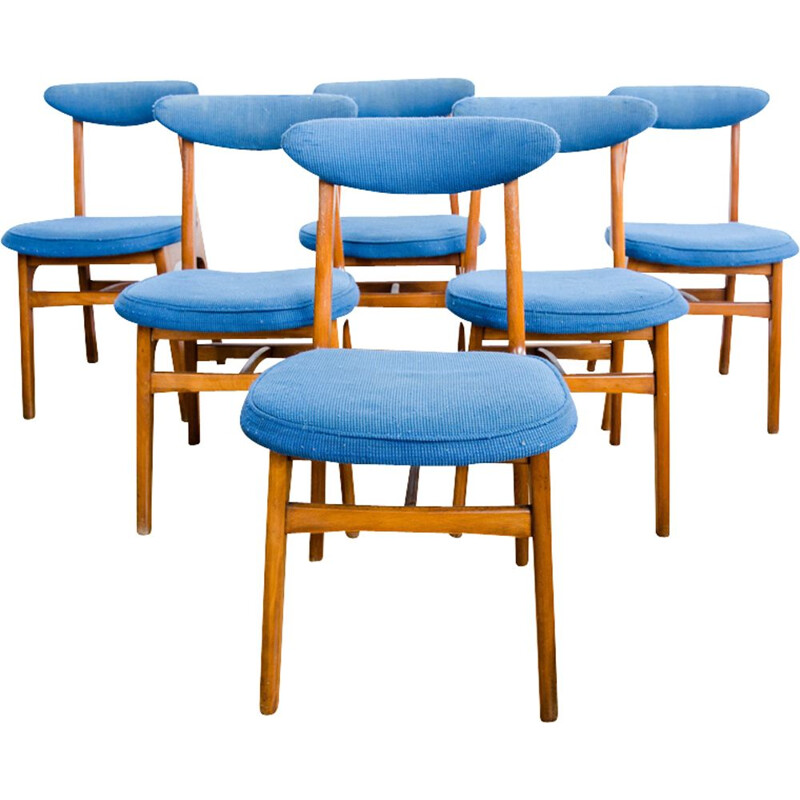 Vintage set of 6 dining chairs in beechwood by Rajmund Teofil Hałas,1960