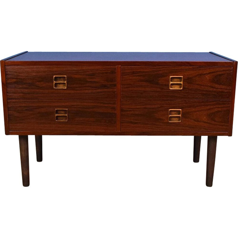 Vintage Danish Rosewood Low Sideboard TV Cabinet with 4 Drawers 1970s
