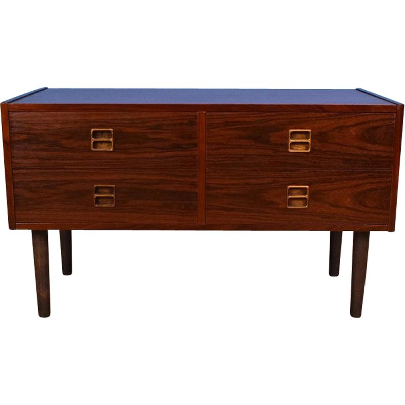 Vintage Danish Rosewood Low Sideboard Tv Cabinet With 4 Drawers