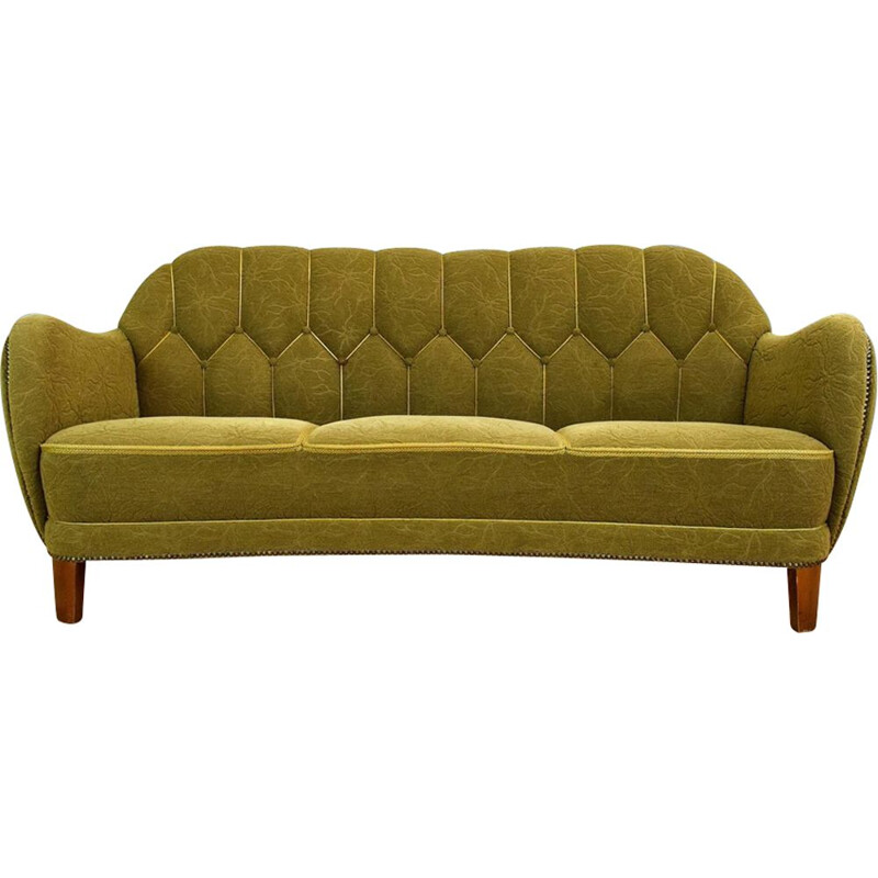 "Vintage Danish green ""Banana"" three seater sofa 1930s 40s"